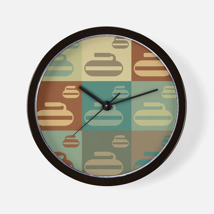 Curling Pop Art Wall Clock
