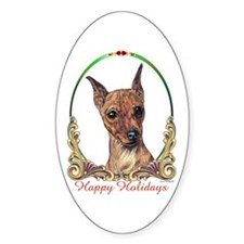 Miniature Pinscher Holiday Oval Decal