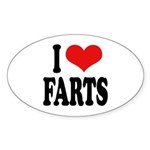 I Love Farts Oval Sticker (50 pk)