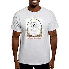 Maltese Happy Holidays Ash Grey T-Shirt