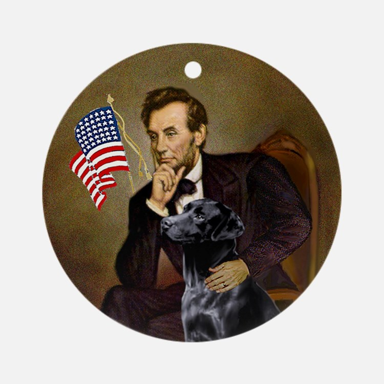 Lincoln and his black Lab Ornament (Round)