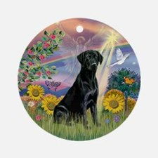 Cloud Angel & Black Lab Ornament (Round)