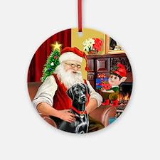 Santa's black Lab (1B) Ornament (Round)