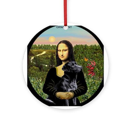Mona & Her Black Lab Ornament (Round)