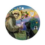 Saint Francis & Black Lab Ornament (Round)