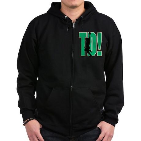 Touchdown Green Logo Zip Hoodie (dark)