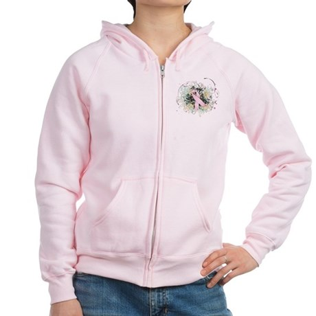 Pink Ribbon Abstract Women's Zip Hoodie