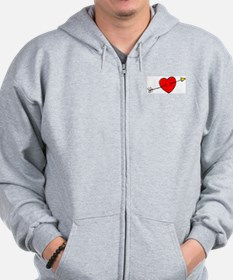 Arrow Through Heart Zip Hoodie