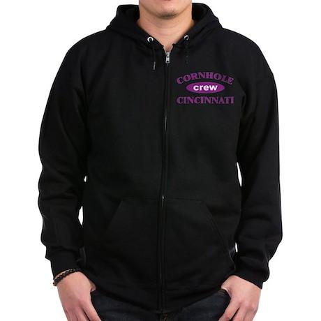 Cornhole Crew Zip Hoodie (dark)