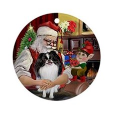 Santa's Japanese Chin Ornament (Round)