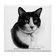 Tuxedo Cat Tile Coaster