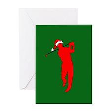 Christmas Golfer Greeting Card