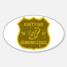Knitting Drinking League Oval Decal