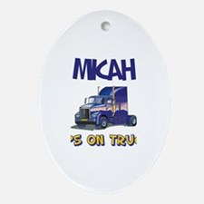 Micahdozer the Bulldozer Oval Ornament