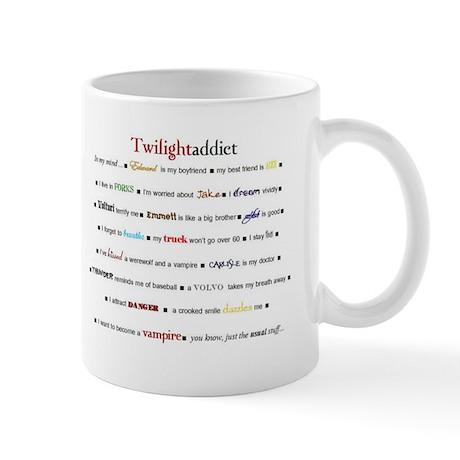 twilightaddict plain font Mugs