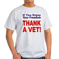 Thank a Veteran (Front) Ash Grey T-Shirt