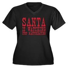 Santa is Watching Women's Plus Size V-Neck Dark T-