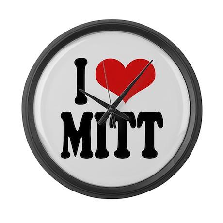 I Love Mitt Large Wall Clock