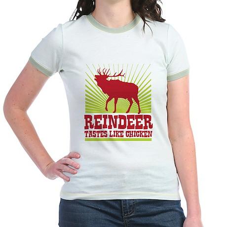 Reindeer Tastes Like Chicken Jr. Ringer T-Shirt