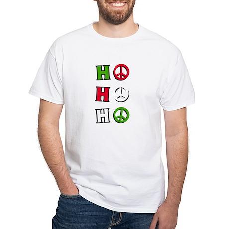 """White T-Shirt - Christmas Peace """"ho ho ho"""