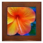 orange hibiscus Framed Tile