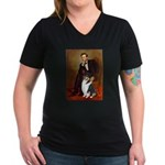 Lincoln / Collie (tri) Women's V-Neck Dark T-Shirt