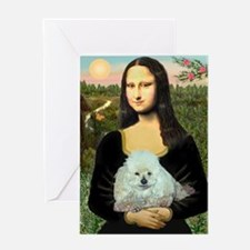 Mona Lisa/Poodle (white/toy) Greeting Card