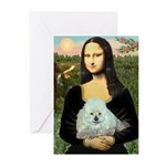 Mona Lisa/Poodle (white/toy) Greeting Cards (Pk of