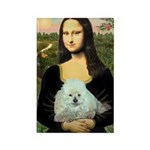 Mona Lisa/Poodle (white/toy) Rectangle Magnet