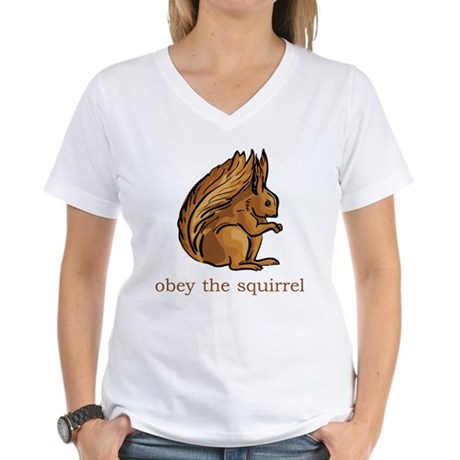 Obey The Squirrel Women's V-Neck T-Shirt