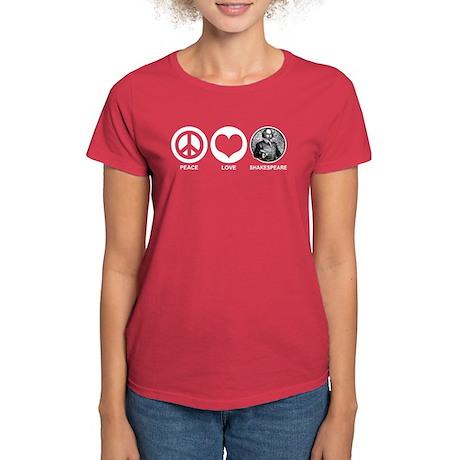 Peace Love Shakespeare Women's Dark T-Shirt