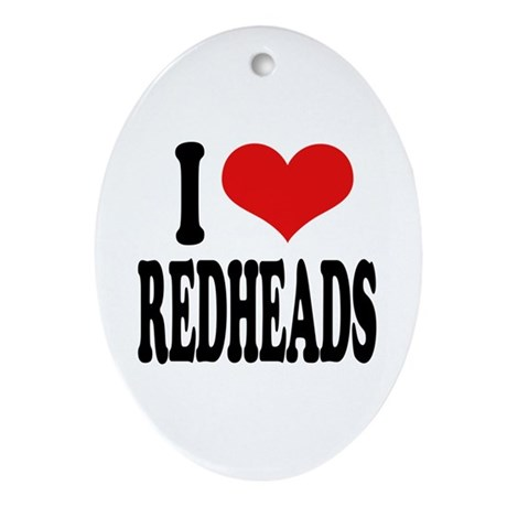 I Love Redheads Oval Ornament