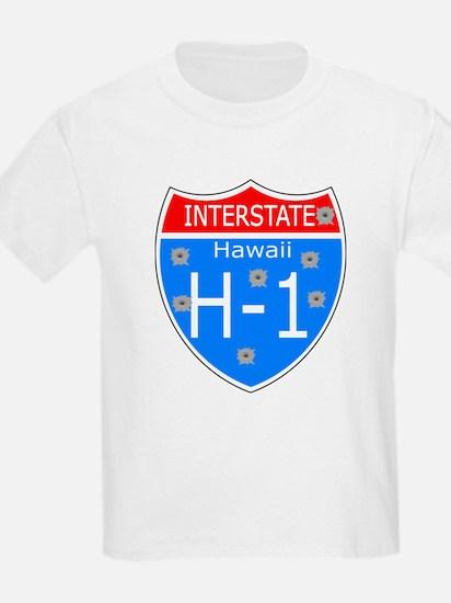 Bullet Hole H-1 Traffic Sign Kids T-Shirt