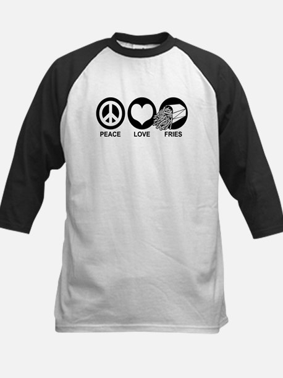 Peace Love Fries Kids Baseball Jersey