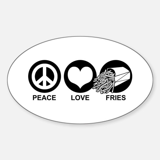 Peace Love Fries Oval Decal