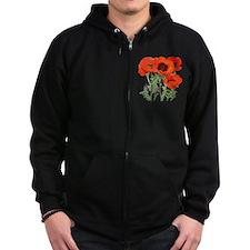 Red Poppies Zip Hoodie
