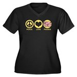 Peace Love Piggies Women's Plus Size V-Neck Dark T