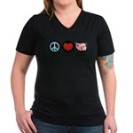 Peace Love Piggies Women's V-Neck Dark T-Shirt