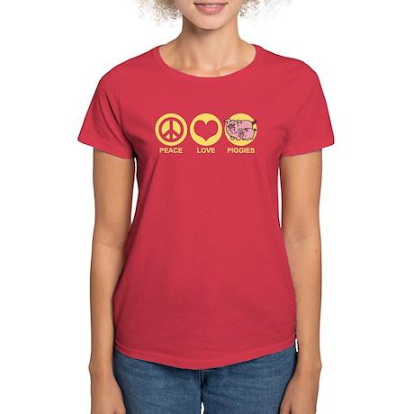 Peace Love Piggies Women's Dark T-Shirt