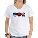 Peace Love Piggies Women's V-Neck T-Shirt