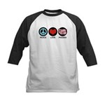 Peace Love Piggies Kids Baseball Jersey