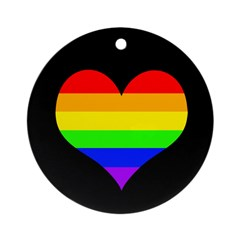 Rainbow Heart Round Xmas Ornament