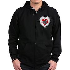 Possum Valentines Day Heart Zip Hoodie