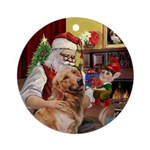 Santa and his Golden Retriever Ornament (Round)