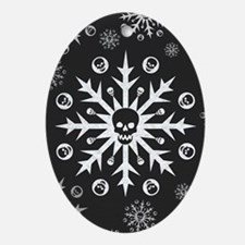 Skullflake (dark) Oval Ornament