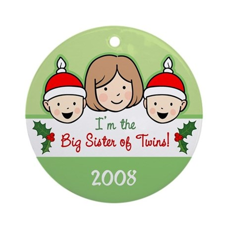Big Sister of Twins Ornament (Round)