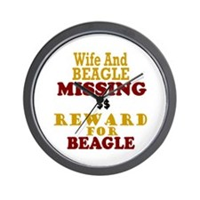 Wife & Beagle Missing Wall Clock