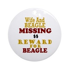 Wife & Beagle Missing Ornament (Round)