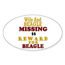 Wife & Beagle Missing Oval Sticker (10 pk)