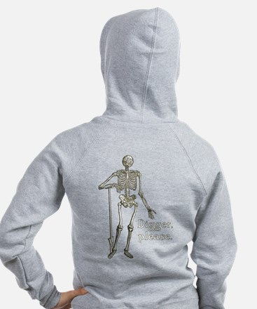 Digger, Please Funny Skeleton Zip Hoodie